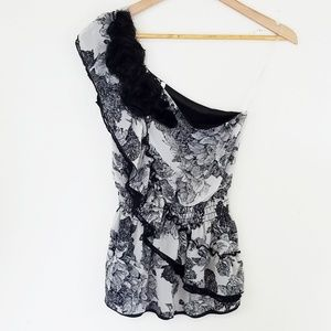 Studio Y One Shoulder Black Floral Top